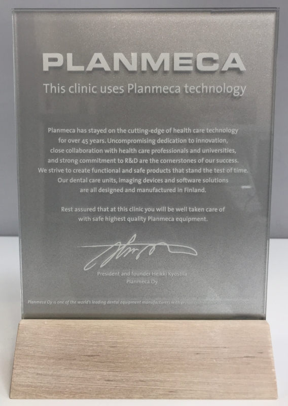 "We are recognized as an accredited reference clinic by ""Planmeca"""